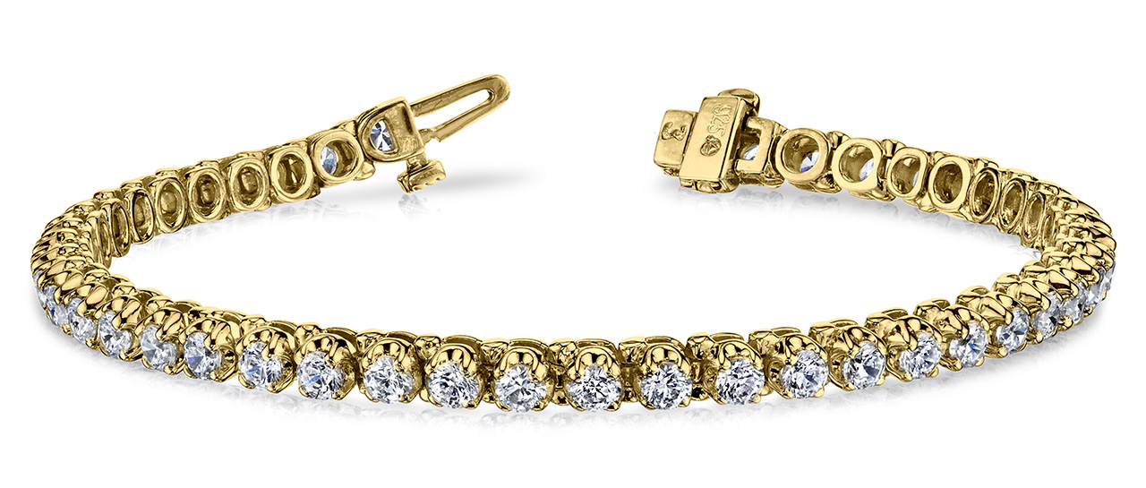 B128 4 Prong Bracelet Yellow Gold