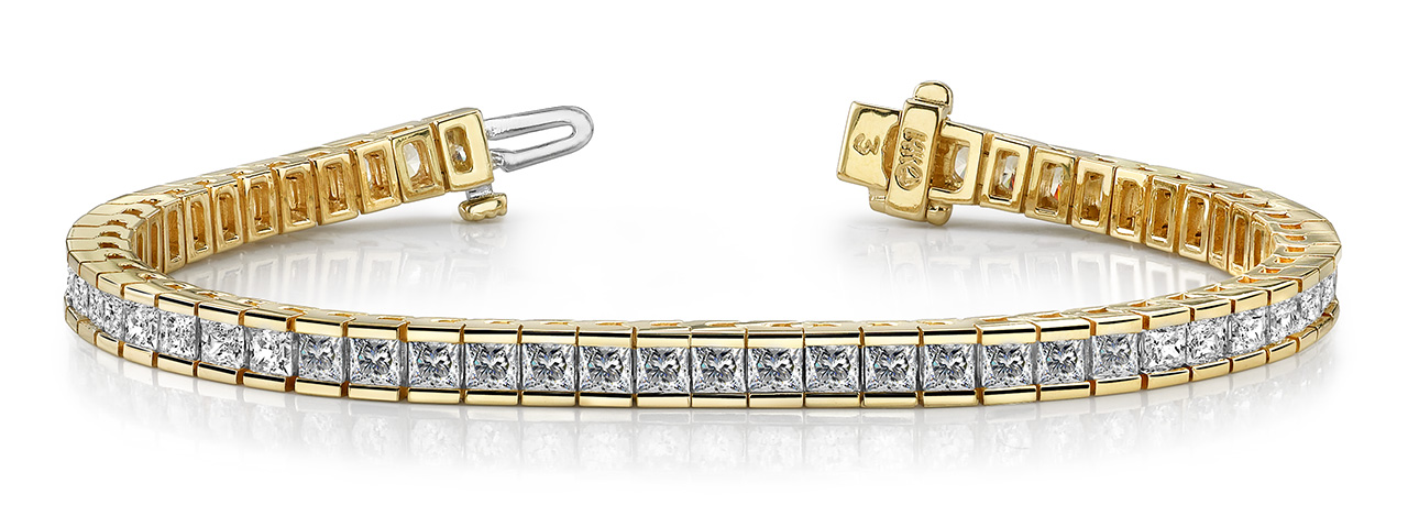 B130 Channel set bracelet for rounds or princess cut diamonds