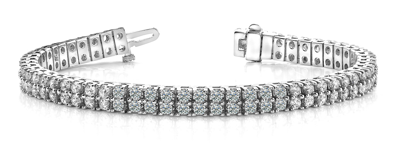 B136 Two Row Four Prong Bracelet