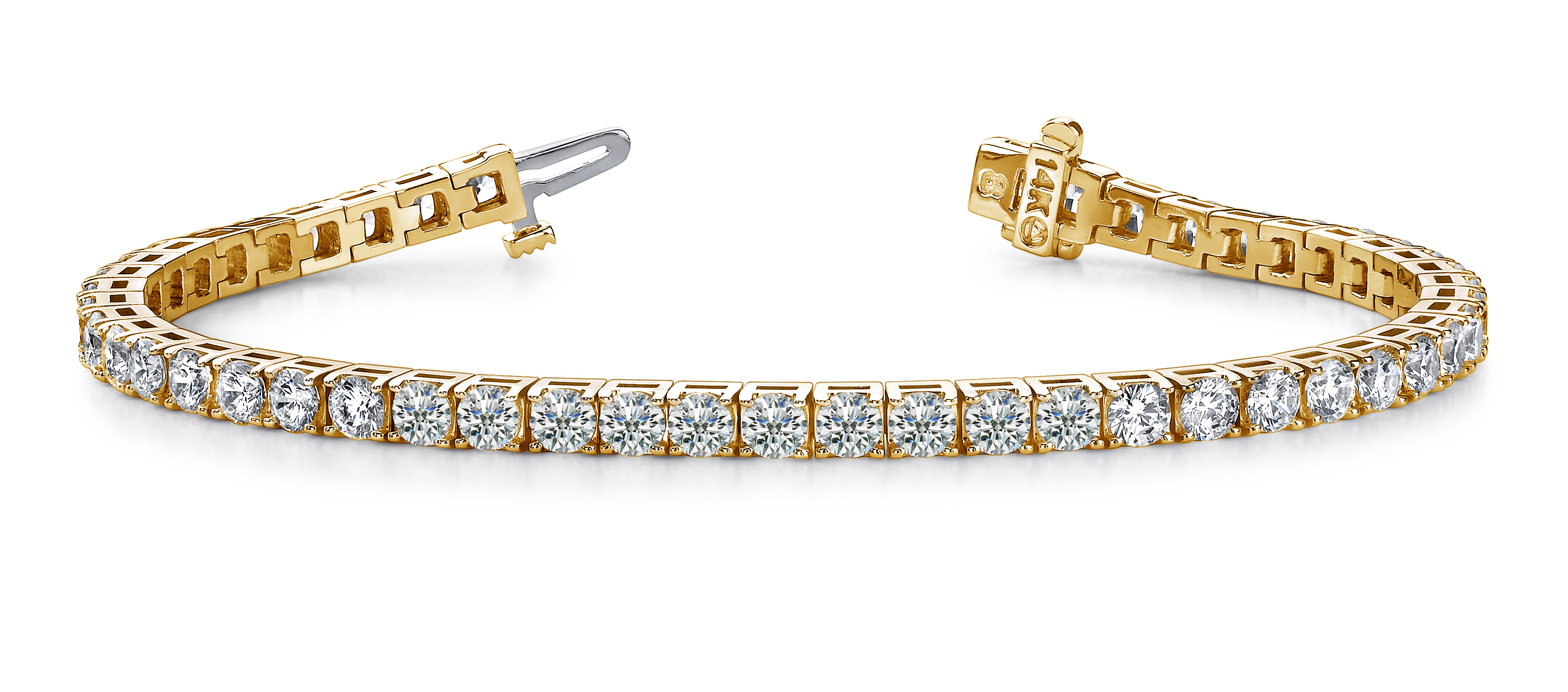 Four prong diamond line bracelet