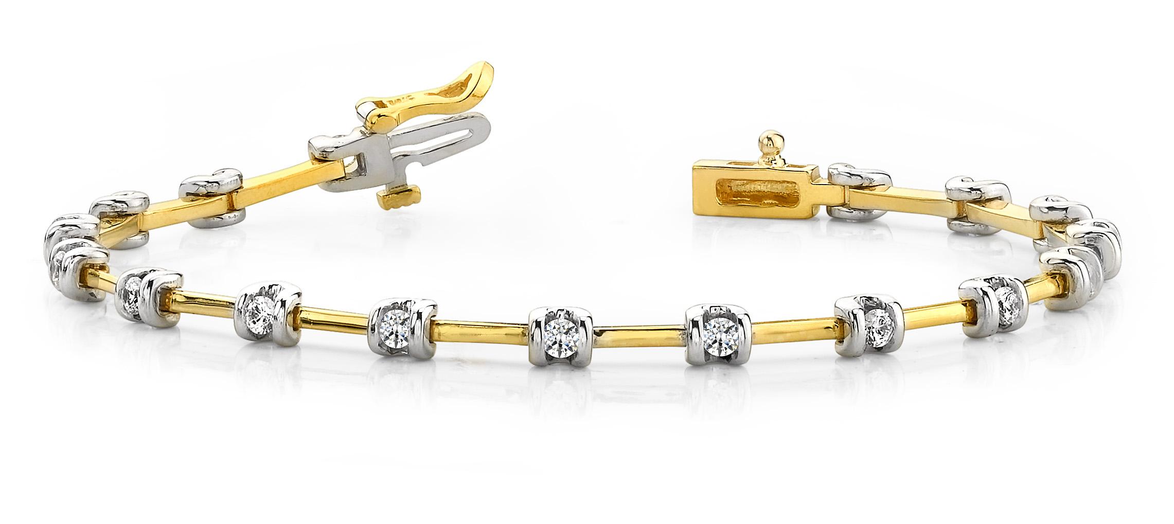 B100 Two tone diamond bracelet
